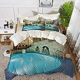 ropa de cama - Juego de funda nórdica, decoración moderna, piscina de color azul intenso en el spa Interior Resort Resort Theraphy Theme, juego de funda nórdica de microfibra hipoalergénica con 2 fund