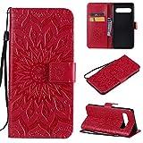 KKEIKO Hülle für Galaxy S10 5G, PU Leder Brieftasche Schutzhülle Klapphülle, Sun Blumen Design Stoßfest HandyHülle für Samsung Galaxy S10 5G - Rot