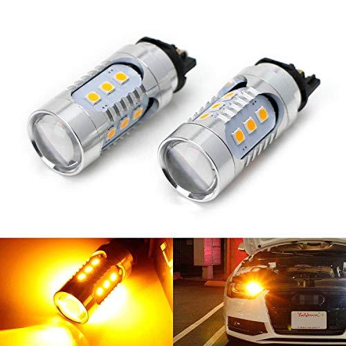 iJDMTOY (2) Amber Yellow CAN-bus PWY24W LED Bulbs Compatible With Audi A3 A4 A5 Q3 Q7 BMW i3 MINI Cooper F55 F56 Mercedes C-Class, GLK GLC Front Turn Signal Lights