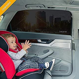 Lecone Upgraded Car Window Tint Film, Reusable Static Cling Shade, Electrostatic Self-Adhesive Black Sun Blocker Screen for Vehicle, Protect Your Baby Kids & Keep Car Cool (Pack of 2)