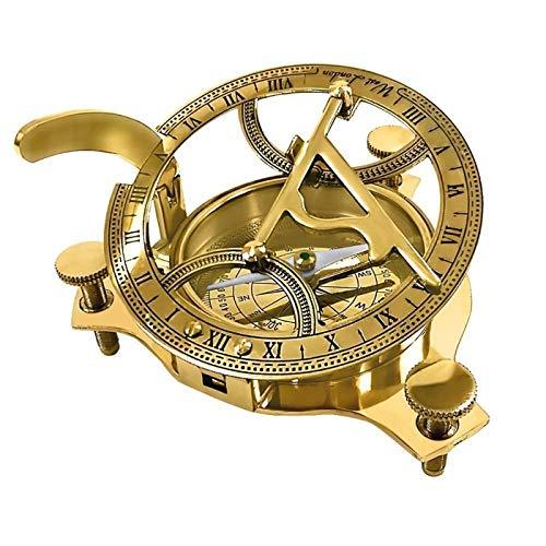 Buddha4all Nautischer Sonnenuhr-Kompass Sonnenuhr Kompass – massives Messing Sonnen-Zifferblatt schön 4 INCH gold