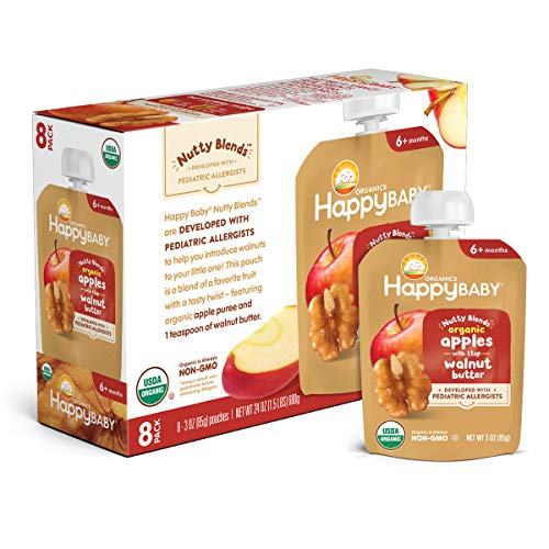 Happy Family Happy Baby Organics Nutty Blends with 1 tsp Apple amp Walnut Butter 3 Oz