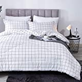 Andency White Grid Comforter Twin(66x90 Inch), 2 Pieces(1 Plaid Comforter and 1 Pillowcase) Black White Plaid Comforter Set, Microfiber Down Alternative Geometric Comforter Bedding Set