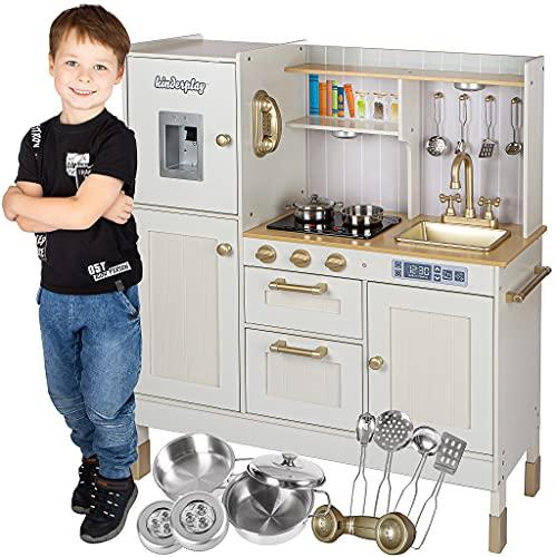 Kinderplay Cucina Giocattolo per Bambini legno - Cucina Legno per Bambini, Grande Cucina Bambini, Illuminazione LED, Accessori, Effetti luminosi e Sonori, di altezza, 89 cm e 103 cm, modello GS0060