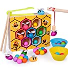 rolimate Toddler Fine Motor Skill Toy Magnet Game, Montessori Educational Wooden Toy, Clamp Bee & Beads to Hive Matching Game, Color Recognition Preschool Learning Toy, Gift for 3 4 5+ Years Boy Girl