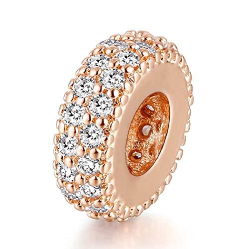 FeatherWish - Charm distanziatore in argento sterling 925 con zirconia cubica, con pavé, color oro rosa, per braccialetti e collane Pandora da 3 mm e Argento, colore: Argento, cod. na
