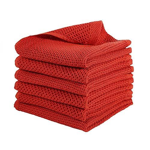 Fauge Paquete de 6 PaaOs de Cocina 100% AlgodóN Tejido Tipo Gofre, Toallas para Platos de Secado RáPido Absorbentes Ultra Suaves, 13 Pulgadas X 13 Pulgadas, Rojo