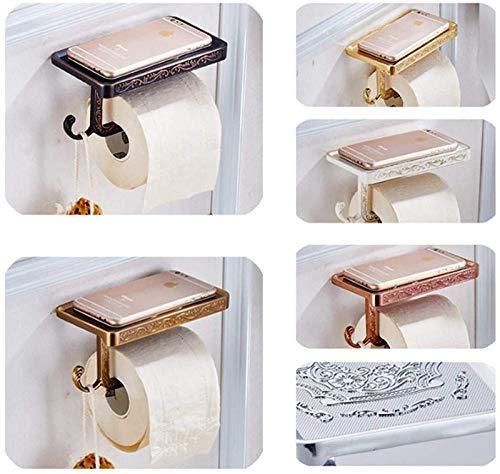 HMMJ Soporte de rollo de inodoro, aleación de zinc Antigua tallado de tallado de inodoro con estante del teléfono, soporte de rollo de baño montado en la pared con gancho de llavero, para el hogar, ho
