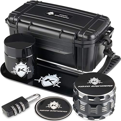 Kozo Smell Proof Stash Box Combo Kit with Aluminium 2.5' Herb Grinder, Rolling Tray, Odor Proof Container Jar and A Combination Lock. Airtight Locking Box Set with All The Accessories You Need!