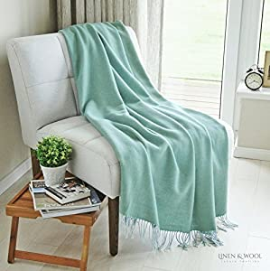 Linen & Cotton Manta Sofa/Mantas de Cama de Lujo STONEWOLD - 100% Pura Lana Merino, Azul Turquesa (140 x 200cm) Plaid/Blanket/Funda Single Matrimonial de Lana Oveja Ideal para el Invierno