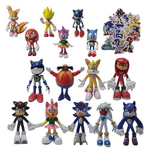 Figura Sonic 9pcs / set figura grande + 6pcs / set figura pequeña Sonic The Hedgehog Classic Amy