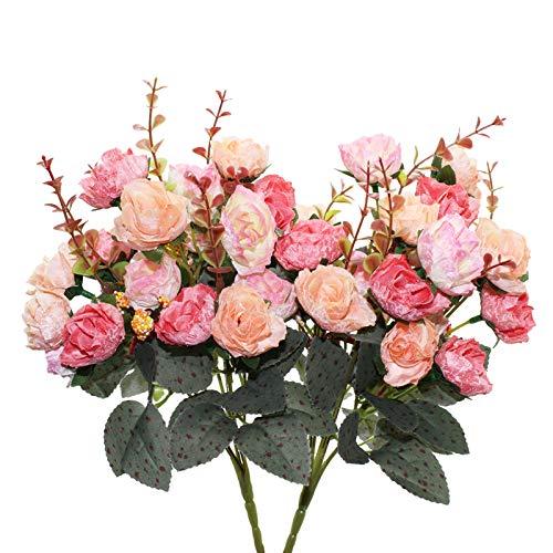 Fleurs Artificielles en Soie Rose, 2 Bouquet de Fleurs Roses Artificielles pour Fête, Mariage, Décoration Florale, Décoration de Café (Rouge et Rose) (Rose)