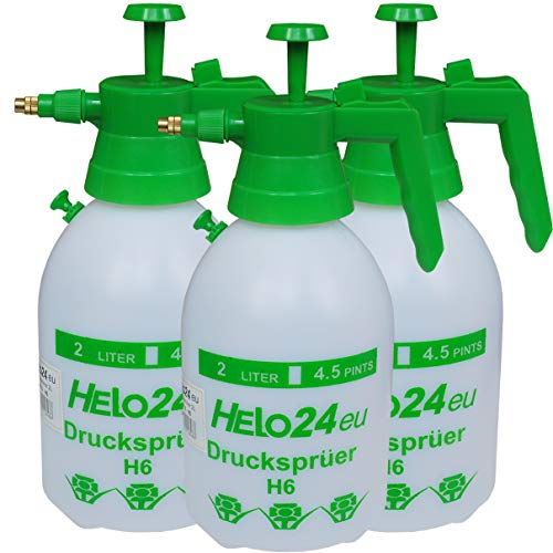 Helo 3 Stück 'H6' Drucksprüher 2 Liter, 1 Bar Duck, Druckentlastungsventil, Garten Pumpsprüher Drucksprühflasche aus PE mit Verstellbarer Düse aus Messing und chemikalienbeständigen Dichtungen