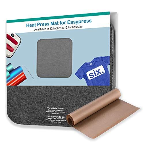 Heat Press Mat with Teflon Sheet for Cricut Easypress- 12x12inch, Heat Transfer Insulation Craft Pad for 2/EasyPress,Vinyl HTV Ironing mats