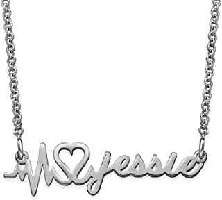 Custom Heartbeat Necklace in Sterling Silver 0.925 - Personalized with Any Name