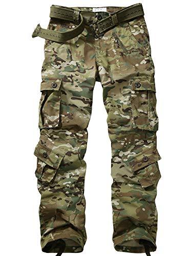 AKARMY - Pantalones de trabajo informales para hombre, con 8 bolsillos, de camuflaje CP Camo 48