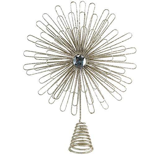 Ornativity Flower Sunburst Tree Topper - Christmas Glitter Holiday Starburst Decoration