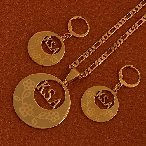 Regalos de joyería de Color Dorado de Moda Conjunto de Joyas de Micronesia Collar Pendientes/No se Puede Cambiar el Nombre # J0215 Cadena de 60 cm por 3 mm