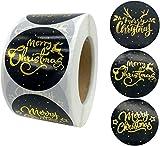 RTUTUR 500PCS Bronzing Merry Christmas Stickers, Etiquetas Adhesivas, Negro Decorativos de Sellado Etiquetas for Navidad de la Empresa sorteo al Horno Bolsa Boutique Artes Hechos