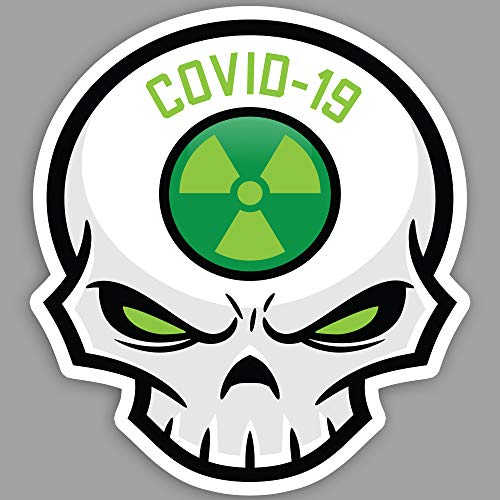 10 PACK - Cool SKULL (GREEN) Essential Worker Sticker Pack - Morale Hard Hat Nuclear Toxic Hazard Coronavirus Crisis Decals - 2' Covid Stickers