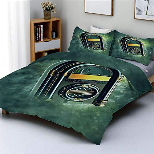 Duvet Cover Set,Abstract Grunge Antique Radio Music Box on Blurry Backdrop Print Decorative 3 Piece Bedding Set with 2 Pillow Sham,Forest Green Yellow and White,Best Gift For Ki