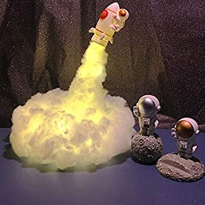 DIY Cotton Cloud Kids Night Light Astronaut Rocket, Handmade Colorful Clouds Astronaut Rocket Lamp, Baby Nursery Nightlight, USB Charging Squishy Cloud Night Light for Kids