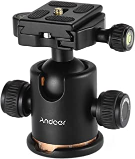 Andoer Tripod Head, 360 Degree Fluid Rotation Camera Tripod Ball Head with Quick Release Plate, Max Load 8kg/17.64lbs for ...