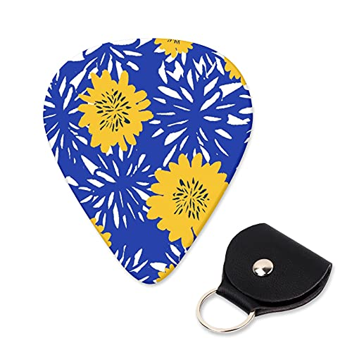 EILANNA Guitar Picks Seamless repeat pattern with flowers in white and yellow on blue background Trendy Guitar Plectrums for Your Electric,Acoustic,Ukulele,or Bass Guitar,Guitar Pick Grip 6pcs