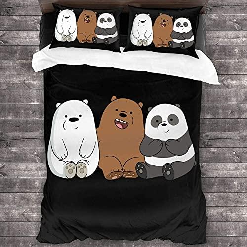 LXSMGS We Bare Bears, set di biancheria da letto in 100% microfibra, dimensioni perfette (Bears 6,140 x 210 cm + 80 x 80 cm x 2)