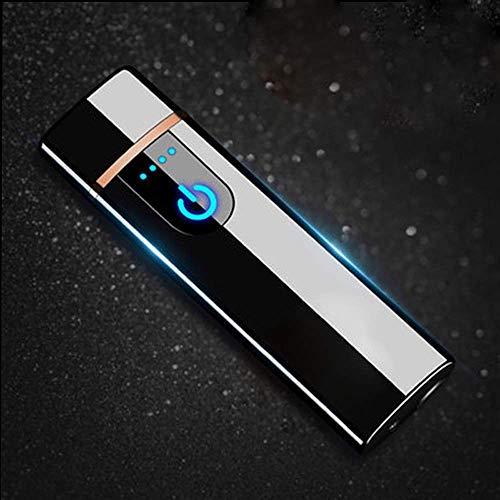 Wiber Uppladdningsbar USB elektronisk tändare fingeravtryck vidrör LED-sensorskärm dubbelsidig tändning vindtät flamlös ljusare