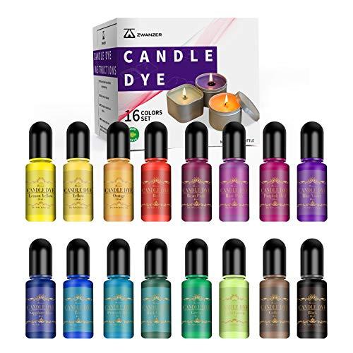 Zwanzer Kerzenwachs Farbe, 16 Farben kerzen gießen Farbstoff, Hochkonzentriert flüssig Kerzenherstellung Dye für Sojawachs Bienenwachs