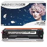 hainberger Toner Nero per CF400X adatto per Color LaserJet Pro m252dw Pro 200m252N stampante laser a colori, compatibile con CF 400X CF 401X CF 402X CF 403X, nero 2.800pagine