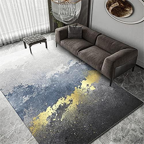 Alfombras Infantiles Lavables Alfombra de Sala de Estar de diseño Degradado Simple de Tinta Amarilla Azul Gris Alfombra Geometrica Antideslizantes para alfombras 100*160cm