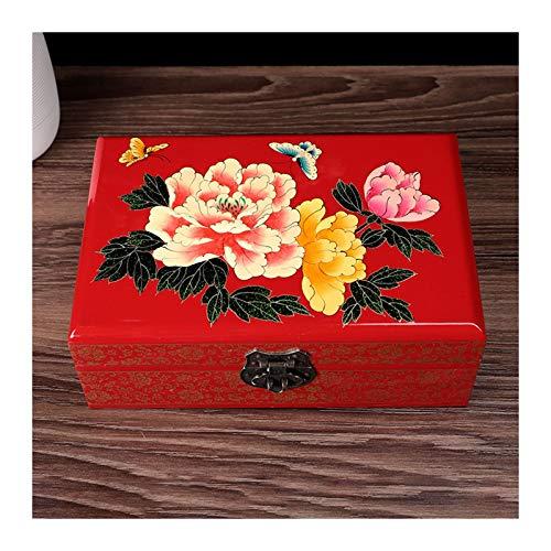 Cajas para joyas Caja de almacenamiento de joyería de madera vintage retro con espejo chino tradicional pintado a mano joyería de joyería de tesore organizador de joyería organizador de trinket recuer