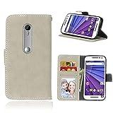 Funda Motorola Moto G 3rd Gen G3,Bookstyle 3 Card Slot PU Cuero Cartera para TPU Silicone Case Cover(Blanca)