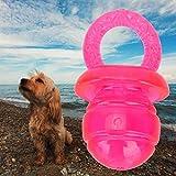 XQAQX Haustier Hund Kauspielzeug, Interaktives Kauspielzeug, 5 Stück/Set Schnullerförmige Haustier Hunde Beißring Zahnen klingendes interaktives Kauspielzeug(rot)