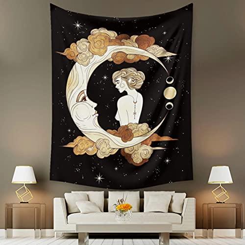 Danjiao Tapiz De Luna Y Estrella para Mujer, Fondo para Colgar En La Pared, Decoración del Hogar, Cubierta De Tela para Pared, Tapiz De Alfombra Sala De Estar Decor 150x130cm