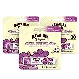 Hawaiian Tropic Lip Balm Pack de 3 - Bálsamo Protector Solar de Labios SPF 30, Sabor Tropical, 4 gr