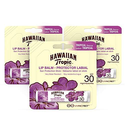Hawaiian Tropic - Sonnenschutz Lippenbalsam SPF 30, Tropical Flavor - Pack 3 Einheiten