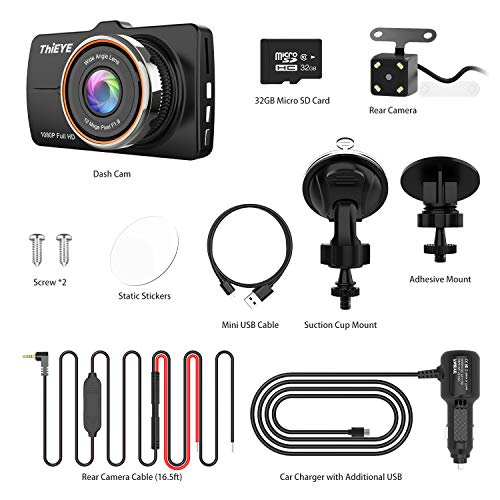 Thieye Dash Cam Front and Rear Car Camera Recorder FHD 1080P Dual Cameras,Driving Loop Recording,3.2 Inch LCD Screen 170°Wide Angle, WDR,Night Vision, G-Sensor, Motion Detection, Parking Monitor