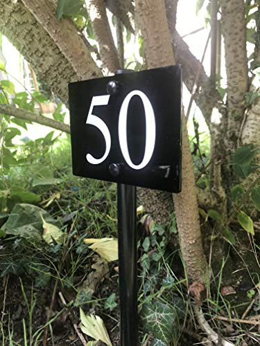 FREESTANDING MODERN HOUSE SIGN DOOR NUMBER ADDRESS PLAQUE GROUND STAKE LAWN...