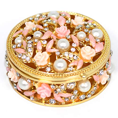 VI N VI Decorated Flower Rhinestone Pearl Jewelry Box Trinket Box