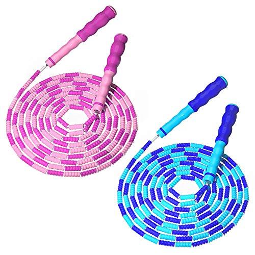 Cuerda de salto con cuentas, 2 unidades, de 2,8 m ajustable, cuerda de saltar libre segmentada para niños, mujeres, hombres, mantenerse en forma, entrenamiento, pérdida de peso (rosa + azul)
