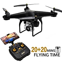 【Long Flight Time Drone】 Equipped with upgraded 1800mAh battery provides up to 20 minutes flight time, The package comes with 1 extra battery, extends your flight time to 40 mins in total. (20+20 mins). They extend your flight experience. 【Wider Visi...