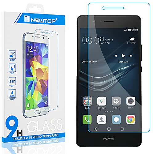 N NEWTOP Protector de pantalla de cristal templado compatible con Huawei P9 Lite, dureza de 0,3 mm, dureza 9H, de vidrio templado, antigolpes, arañazos
