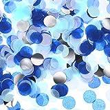 Confeti de Papel de Aluminio Confeti de Papel de Seda Puntos para Decoración de Fiesta de Boda Cumpleaños, 1,76 oz (Confeti Blanco Azul)