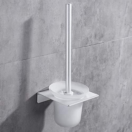 Hoomtaook Brosse WC et Supports Balai WC avec Poignée en Métal, Support en Verre et 2 WC Brosses Balayette WC Accessoires WC avec Une Tête de Brosse Supplémentaire