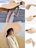 HINK-Home - Sombrero de sol grande, para playa, protección solar UV, plegable, paja, para el día de Pascua