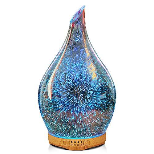 280ml Aroma Diffuser 3D Glas Ätherische Öle Diffuser Ultra Leise Aromatherapie Luftbefeuchter Galaxy Effekt Duftlampe mit 14 Farbwechsel, Bis zu 10H Einsatz, 4 Timer, Waterless Auto-Off, BPA-Free