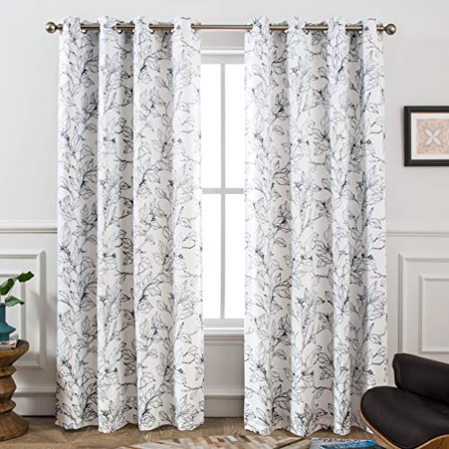 DriftAway Ryan Sketch Branch Leaves Blackout Room Darkening Grommet Lined Thermal Insulated Energy Saving Window Curtains 2 Layers 2 Panels Each 52 Inch by 84 Inch Black Line